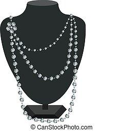 gyémánt, nyaklánc, manöken