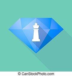 gyémánt, sakkjáték, alak, hosszú, árnyék, király