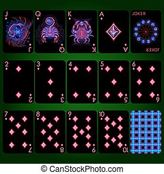 gyémánt, sorozat, set., cégtábla, neon, tele alkalmaz, kártya, állatöv, játék