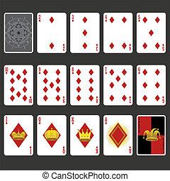 gyémánt, tele, állhatatos, illeszt, kártya, játék