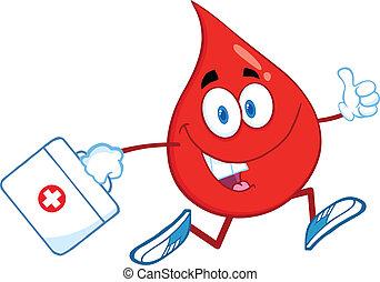 gyógyszer táska, csepp, vér