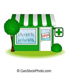 gyógyszertár, icon., épület, vektor