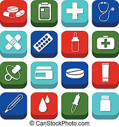 gyógyszertár, ikonok