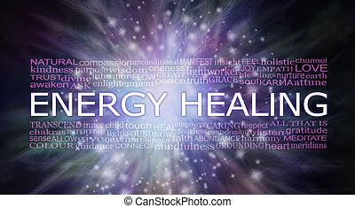 gyógyulás, éteri, energia, szó, felhő, transzparens