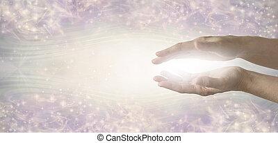 gyógyulás, fény, szerény, kézbesít, munkás, elküldés, energia