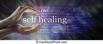 gyógyulás, szó, segítség, maga, felhő