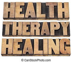 gyógyulás, terápia, egészség, szavak