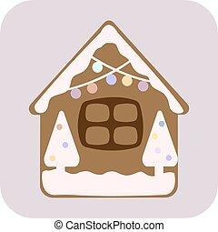 gyömbéres mézeskalács, cukorkák, vektor, karácsony, épület