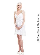gyönyörű, álló, fehér, nő, ruha