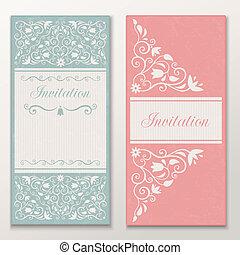 gyönyörű, állhatatos, invitations., esküvő