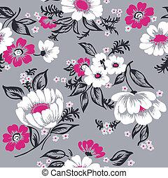 gyönyörű, állhatatos, -, seamless, vektor, tervezés, háttér, virágos, scrapbook, -e