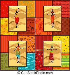gyönyörű, állhatatos, szüret, etnikai, lány, seamless, gyűjtés, struktúra, afrikai, szalagcímek