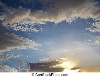 gyönyörű, ég, elhomályosul, napnyugta