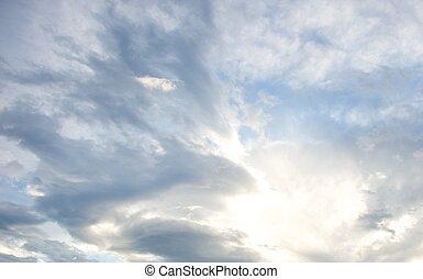 gyönyörű, ég, felhős