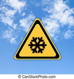 gyönyörű, ég, hó, aláír, háttér., figyelmeztetés