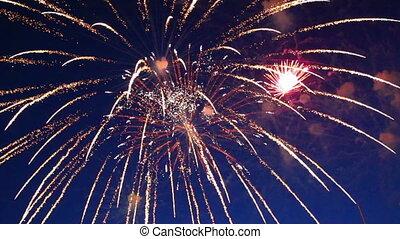 gyönyörű, éjszaka, tűzijáték, ég, előadás