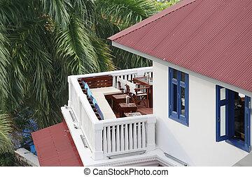 gyönyörű, épület, erkély, felülnézet