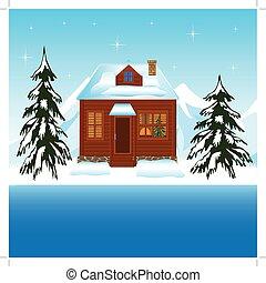 gyönyörű, épület, mellett, udvar, tél
