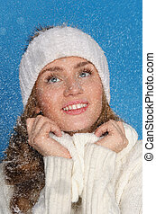 gyönyörű, öltözék, nő, tél, hó