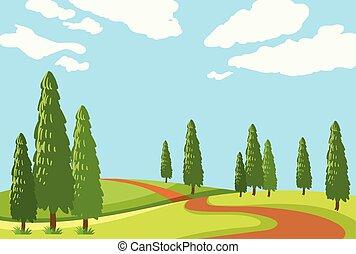 gyönyörű, út, természet
