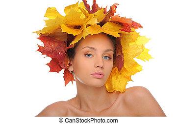 gyönyörű, ősz kilépő, nő