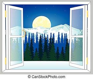 gyönyörű, ablak kilátás