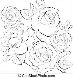 gyönyörű, agancsrózsák, seamless, háttér