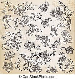 gyönyörű, alapismeretek, őt lap, -, kéz, menstruáció, vektor, retro, dísztárgyak, virágos, húzott