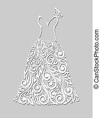 gyönyörű, alapismeretek, szürke, háttér, virágos, white ruha
