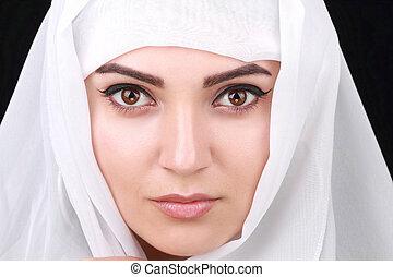 gyönyörű, apáca, fehér, nő, sál