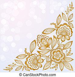gyönyörű, arany, faragott, háttér, sarok, díszes, menstruáció