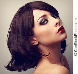 gyönyörű, arcél, closeup, szüret, alkat, haj, fekete, portré, woman.