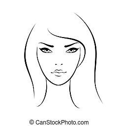 gyönyörű arc, nő, ikon