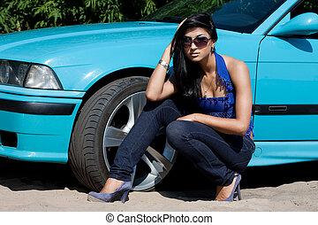 gyönyörű, autó woman