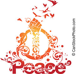 gyönyörű, béke, vektor
