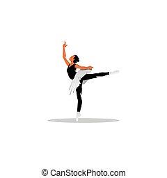 gyönyörű, balett, illustration., táncos, fiatal, vektor, feltevő, studio.