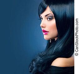 gyönyörű, barna nő, egészséges, hosszú szőr, fekete, woman.