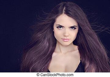 gyönyörű, barna nő, egészséges, hosszú szőr, girl.
