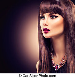 gyönyörű, barna nő, egészséges, hosszú szőr, leány