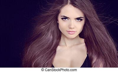 gyönyörű, barna nő, egészséges, hosszú szőr, színezés, leány