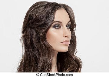 gyönyörű, barna nő, göndör, egészséges, hosszú, girl., hair.