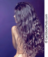 gyönyörű, barna nő, göndör, egészséges, hosszú szőr, girl.