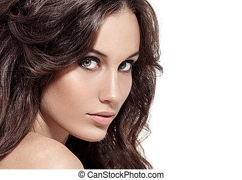 gyönyörű, barna nő, göndör, hosszú, hair., woman.