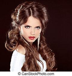 gyönyörű, barna, nő, hairstyle., szépség, felett, göndör, ipari formatervezés, hosszú szőr, ajkak, portrait., dark., leány, piros
