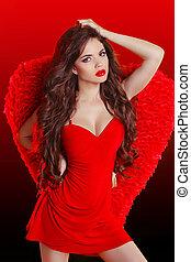 gyönyörű, barna nő, mód, feltevő, nyugat, leány, ruha, formál, piros