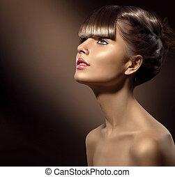 gyönyörű, barna, nő, szépség, egészséges, alkat, sima, haj
