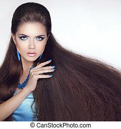 gyönyörű, barna nő, szépség, egészséges, hosszú, girl., fashi, hair., makeup.