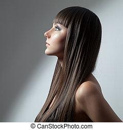 gyönyörű, barna nő, szépség, egészséges, hosszú, girl., nyugat, hair., formál