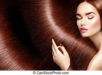 gyönyörű, barna, nő, szépség, egészséges, hosszú szőr, háttér, hair.