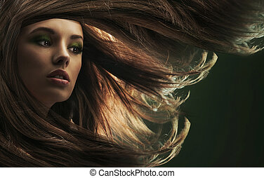 gyönyörű, barna szőr, hölgy, hosszú